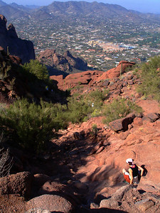 Returning from our second (successful) bid to climb Camelback.