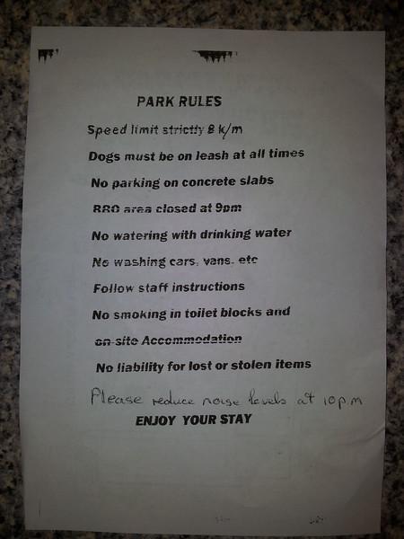 Carnarvon Caravan Park Rules