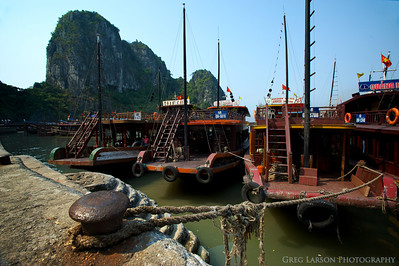Junks in harbor, Ha Long Bay, Vietnam.