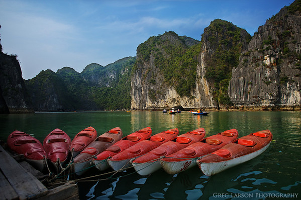 Kyaks for tourists, Ha Long Bay, Vietnam.