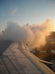 De-icing the plane because of frost