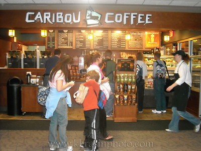 Starting our early morning at MSP with Caribou Coffee