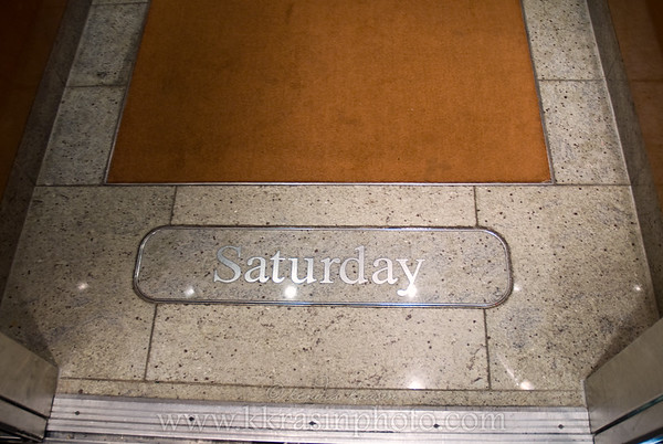 The day of the week is kept up-to-date on the floor of the elevators.