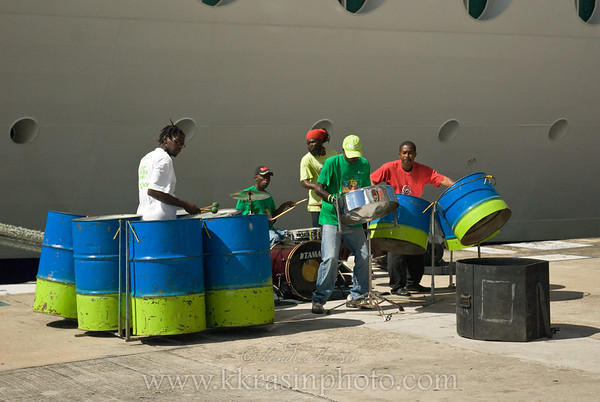 The steel drum band that was playing on the cruise ship pier