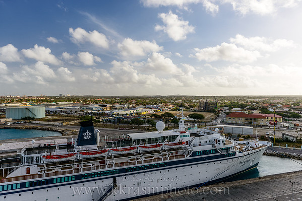 The island from the ship (plus Freewinds)