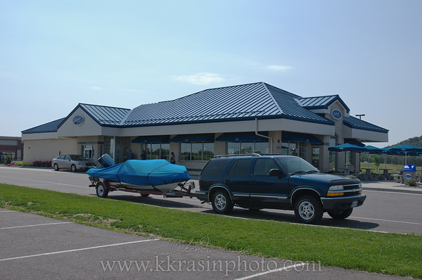 Paul's dad was very excited to use the boat parking at Culver's near Eau Claire, WI