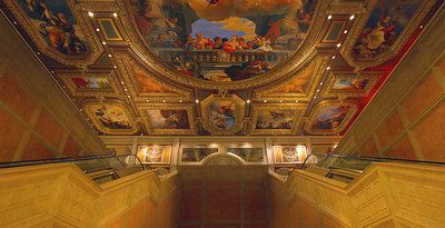 The venetian Ceiling art inside the entrance to the Grande Canal Shoppes.