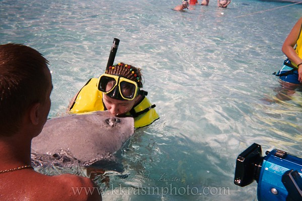 They also like to get you to kiss the stingrays.  They videotape everything and offer a $20 DVD afterwards.  If you buy it (we did), it is delivered to your room on the ship.