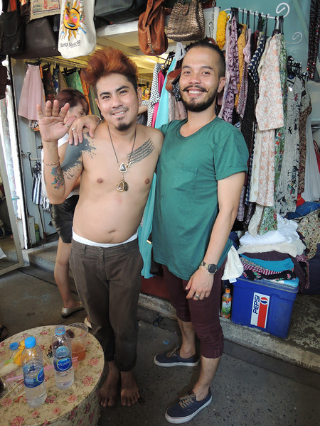 "These fine fellows are vendors at the Chatuchak weekend market. When asking for directions for this market, remember to an-nun-ci-ate the consonants. Otherwise, Thais will look at you quizzically and giggle because you're mispronunciation probably translates to something like ""I want to go to the moon""."