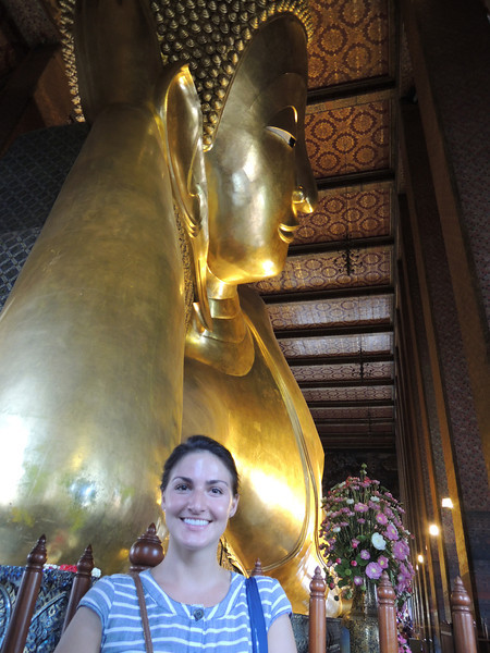 Wat Po is home to the Reclining Buddah. The Reclining Buddah is covered in gold leaf, and on his feet is intricate mother of pearl inlay. The Buddah is 45 feet high and 129 feet long.