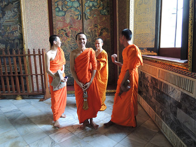 Young monks at Wat Po. Men of all ages are encouraged to become monks at one point in their lives.