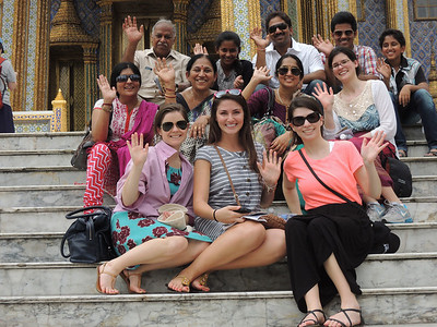 THIS is our Indian family. Over the course of our half day at the Grand Palace, we run into the Indian family 4 times. We finally decide to take a photo all together.