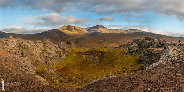 Saxhól crater and Snaefells peak