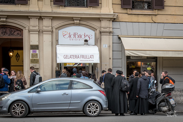 "Even a group of priests know when it's ""gelato time"" at Old Bridge Gelateria."