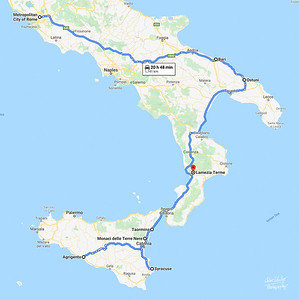 This is a map of the places where we spent the night. during this trip to Italy.