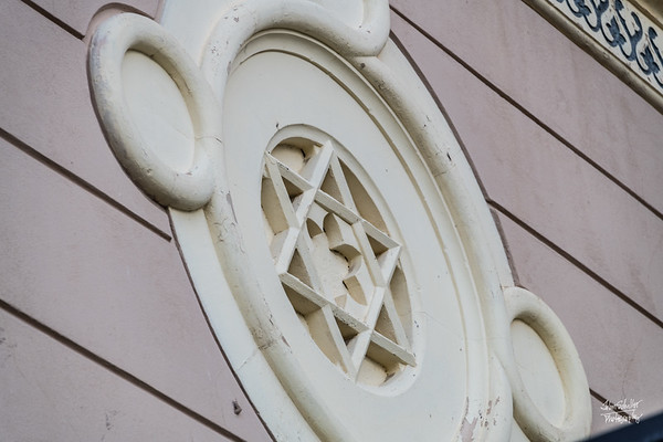 Jewish star on the side of a building on the plaza in Taromina
