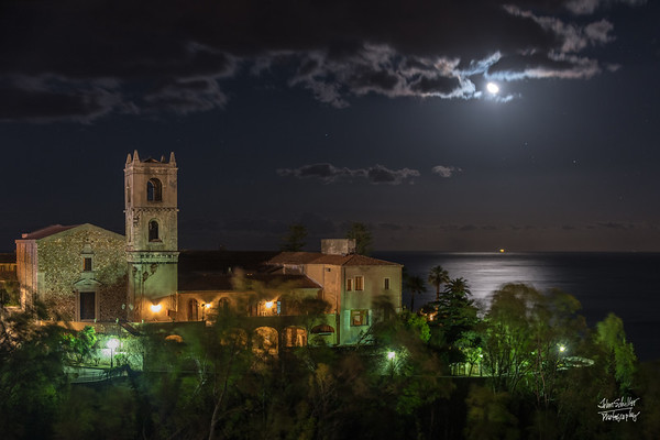 Moon shining over the Ionian Sea, as shot from our Hotel Excelsior