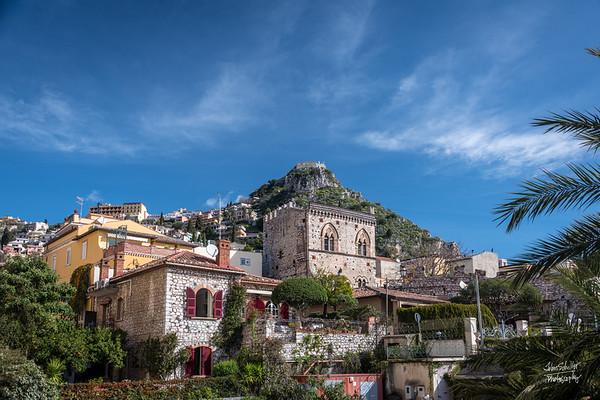 Taormina. looking up towards Castelmola