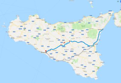 Map - 9 Taormina to Agrigento