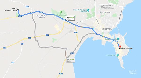 Map - 10 1 B&B to Island of Ortigia