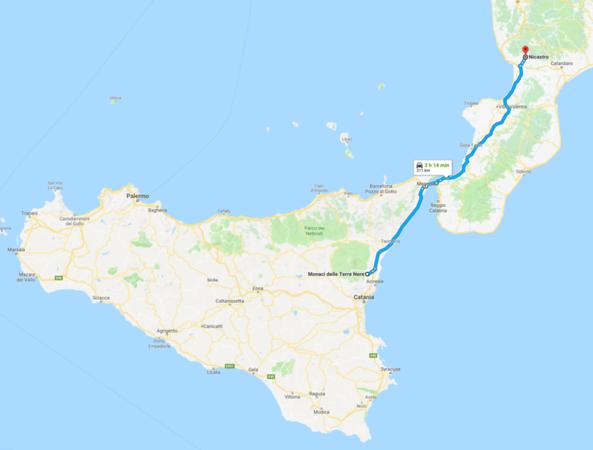 Map - 12 Monaci delle Terre Nere to Lamezia Termi