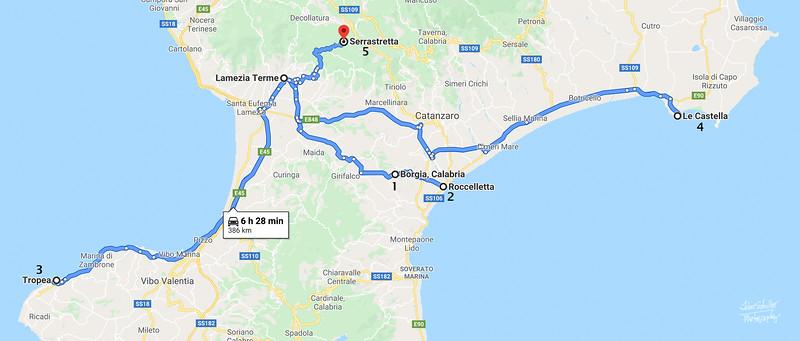While in Lamezia Terme, we took side trips to 5 locations: Borgia, Roccelletta, Tropea, Le Castella and Serrastretta