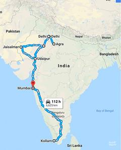 The trip... New Delhi, Agra, Jaipur, Jaisalmer, Udaipur, Kollam, Kochi, Ashtamudi,  and Mumbai