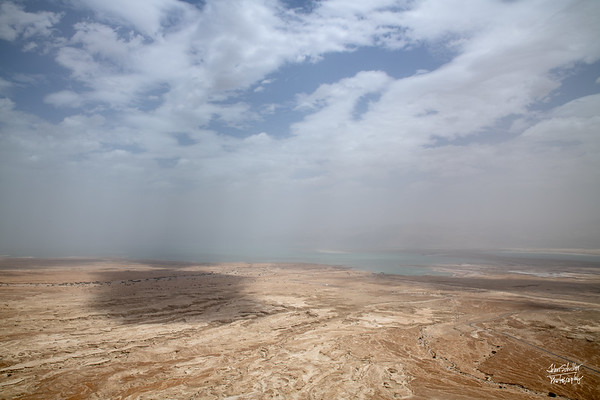 Dead Sea out in the distance.  Haze comes  from the heat and sea salt in the air