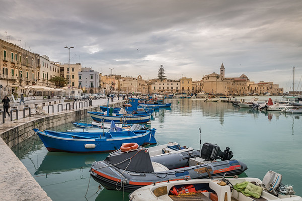 Trani Harbor,  Blue is a dominating color theme.