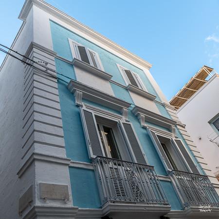 Blue building in historic Polignano