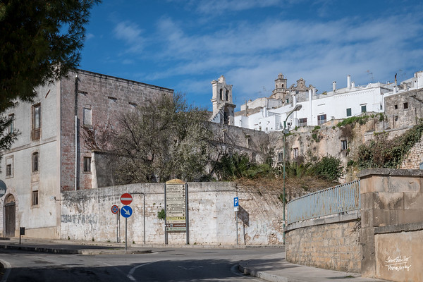 Walking up Via Giosue Pinto towards the center of historic Ostuni