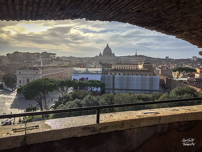 View of St. Peter's Basilica through a window in Castel Sant'Angelo