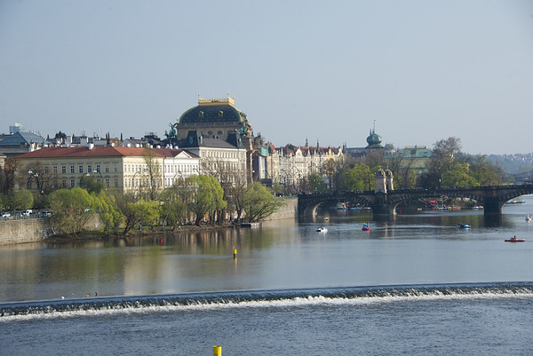 Walking across the Charles Bridge, and looking upstream to the next bridge, and back to the downtown area