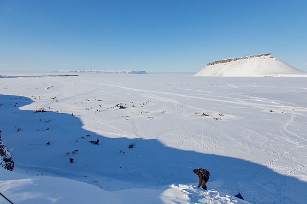 Nathan and Kyle headed down to the sea ice to meet our dogsleds