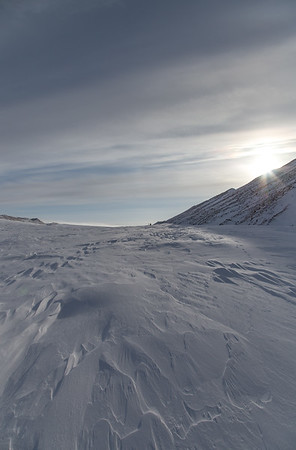 Hiking up the Greenland ice sheet with skis