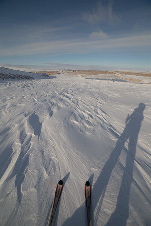 My shadow and I, skiing down the ice sheet to the car