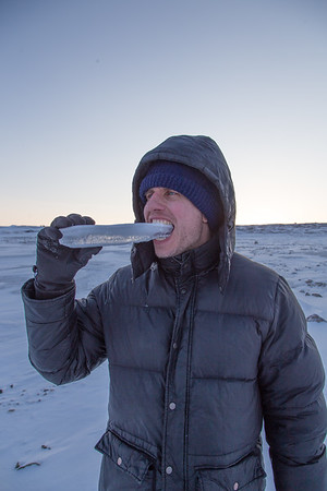 Like any good scientist, Nathan samples the local ice
