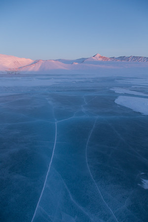 There's a small frozen meltwater lake