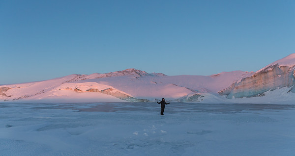 Nathan out on the largest of the frozen meltwater lakes