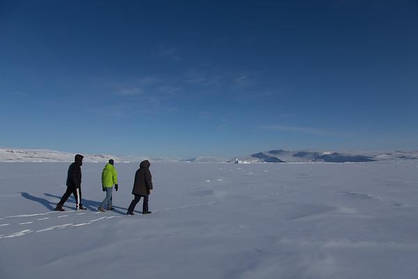 Headed back across the sea ice to the car...