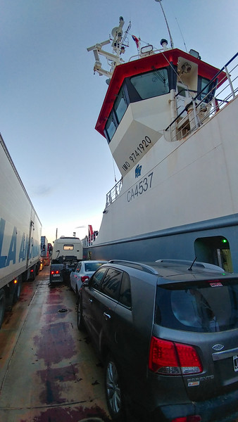 That's a tight fit! No windows or observation decks on this ferry, with the storms around here, it's all business