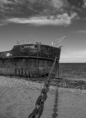 An old abandoned shipwreck along the Strait of Magellan