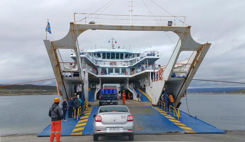 Boarding the ferry from Porvenir