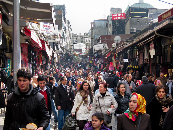Busy Istanbul Market Street