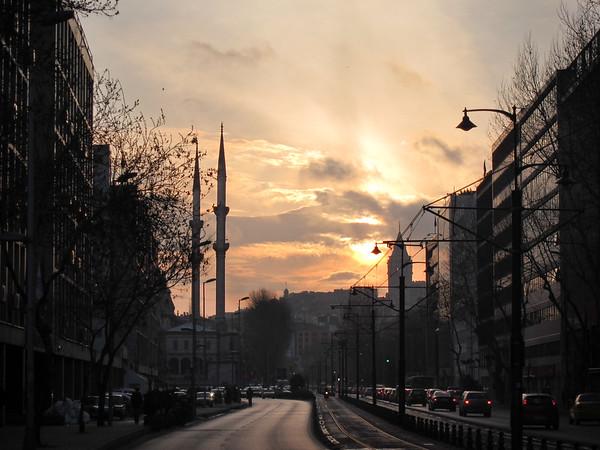 Istanbul Street Sunset