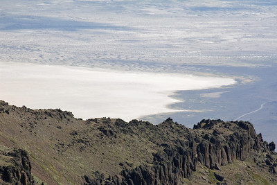 A razor ridge on the east Steens with the Alvord desert below.
