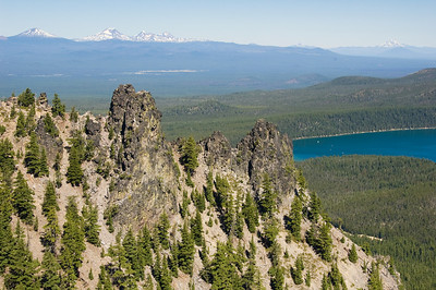 Here is the view from Paulina Peak, looking back toward Bachelor and some of the other volcanic peaks.