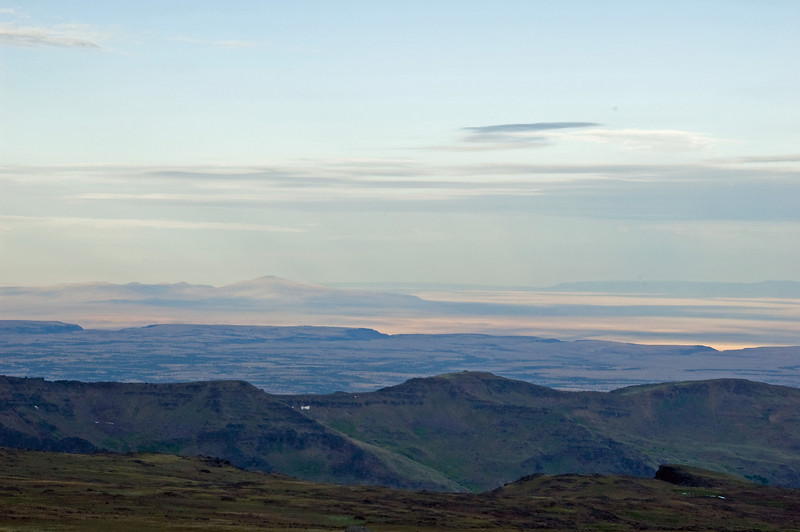 Looking west toward Hart Mountain from the top of the Steens at sunrise.