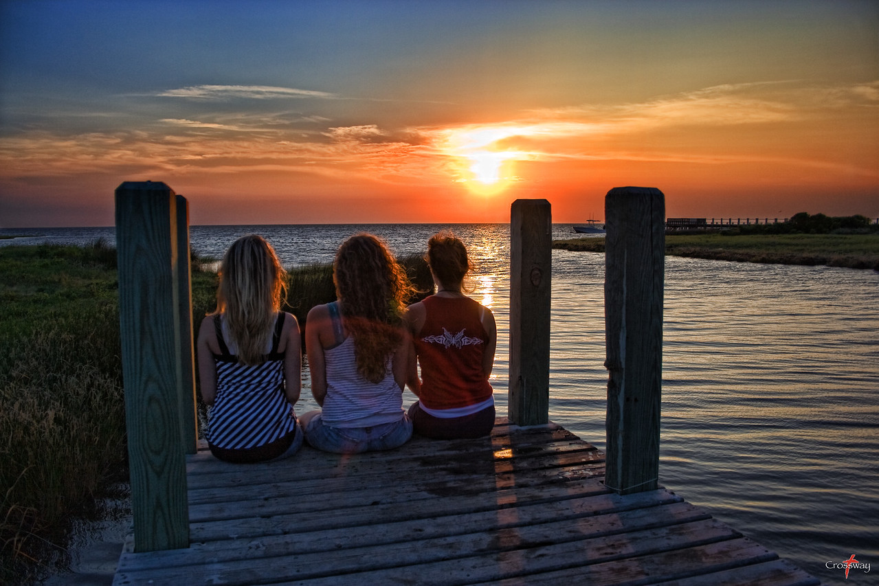 Girls on a dock in the Outerbanks, NC