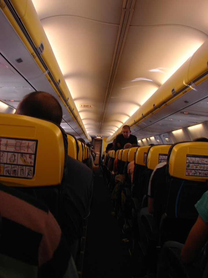 Ryan Air. the lego coloured planes. cheap at least. no food or water(for free) nor could the seats recline. funny.